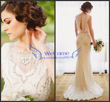 Luxury Crystals Beading Wedding Dress Mermaid Bridal Gown Size 2 4 6 8 10 12 14