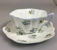Shelley Dainty Blue Flowers Scalloped Edge Tea Cup and Saucer Bone China England