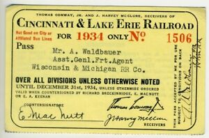 CINCINNATI & LAKE ERIE Railroad Pass - 1934 - Electric Interurban