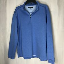 Pebble Beach Performance Mens 1/4 Zip Shirt Blue Pullover Golf ~Large
