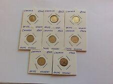 Lot de 8 pièces en argent de 10 cts Canada 1942/43/46/60/63/64/65/66