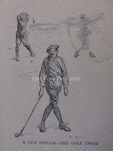 Golf Theme THE NEW DISEASE - THE GOLF TWIST Antique Punch Cartoon