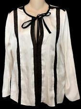 Lanvin Blouse White With Black Lace W/  Tie Longsleeve /lace Size 36 NEW $1150