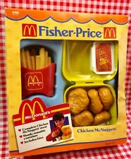 VTG 1988 Fisher Price McDonald's Play Food Chicken McNuggets Box Fries Sauce NEW
