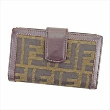 Fendi Wallet Purse Zucca Black Beige Woman unisex Authentic Used T5687