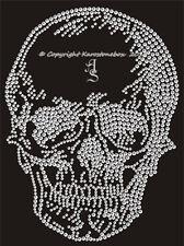 Hotfix Bügelbild Strass Glas Totenkopf Skull 120406 EXTRA GROSS Karostonebox