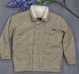Boys BILLABONG Toddler Corduroy Jacket Coat 3T Tan Sherpa Lined Plaid Sz 3