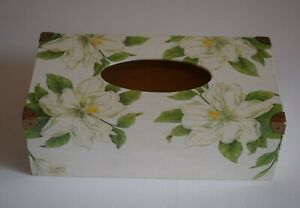 Rectangular Tissue Box Cover Handcrafted Wooden Decoupaged