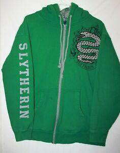 Universal Studios Harry Potter SLYTHERIN Zip Hood Sweater Adult L *READ* *STAIN*