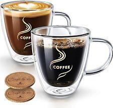 New listing Coffee Mugs, Hokeki Double Walled Anti-scalding Glass Coffee Cups with Coasters