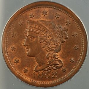 1852 Braided Hair Large Cent 1c ANACS MS-64 RB Red Brown *Very Choice BU* B.
