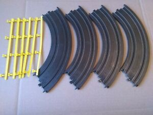 "Tyco Mattel 9"" 1/4 New Curves (Qty 4) With 6 Guardrails Guard Rails #4"