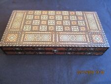 VINTAGE MIDDLE EASTERN FOLDING BACKGAMMON BOARD INLAID BONE etc + COUNTERS/DICE
