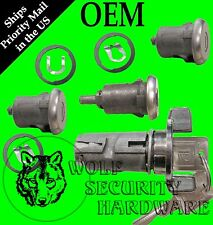 Chevy Suburban 79-91 Ignition & Door Lock Key Cylinder Set Chrome 2 GM Logo Keys