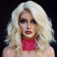 #60 Blonde Short Wave Wig Brazilian Virgin Human Hair Full Lace Front Wavy Wigs