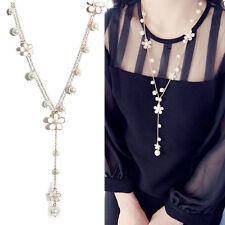Fashion Women's Elegant Pearl White Flower Pendant Sweater Long Chain Necklace