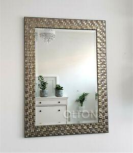 John Lewis Wall Mirror Wood Mosaic Frame Champagne Antique Silver 66x92cm RRP140