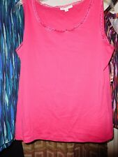 NWT 2X DARK PINK JM COLLECTION LACE TRIM  TANK TOP  100% COTTON