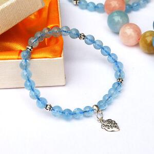 Aquamarine with Sterling Silver Charm Stretch Bracelet