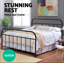 QUEEN Strong Metal Bed Frame Size Round Tube Base Powder coated steel Black