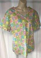 Small Melrose May Hill Scrubs Scrub  Top Pink with Green Frogs Size L Large