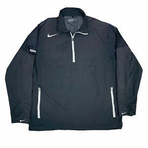 Nike Golf Jacket Mens Large Black Gray Windbreaker 1/4 Zip Pullover Adult