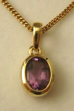 GENUINE SOLID 9K 9ct YELLOW GOLD AMETHYST PENDANT