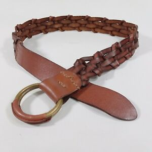 Abercrombie & Fitch Braided Belt XS S 34 36 Leather Ring Buckle Brown Distressed