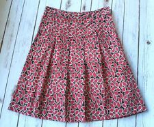 Boden Skirt Womens US 6 R Red Leaf Print A Line 100% Cotton UK 10 R Banded Waist