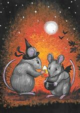 ACEO PRINT OF PAINTING HALLOWEEN RYTA MOUSE TRICK OR TREAT ART CANDY CORN MICE