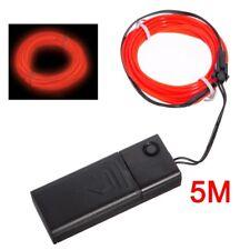Red Flexible EL Wire Neon Light 5M Dance Party Decor+Controller Z2I1