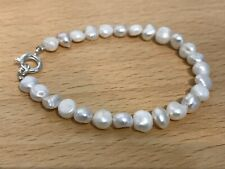 """White Freshwater Pearl 7"""" Bracelet with Silver Plated Bolt Clasp"""