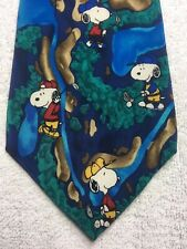 PEANUTS MENS TIE BLUE AND GREEN WITH SNOOPY 4 X 56