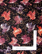 Western Theme Fabric - Saddle Lasso Rope Elizabeths Studio 298 Black - 1.6 Yards