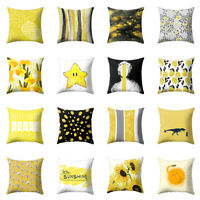 FT- Yellow Geometric Home Decorative Throw Square Pillow Case Cushion Cover Call