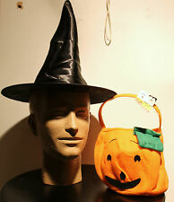 2-SET BLACK WITCH'S HAT & PUMPKIN TREAT BAG Halloween Costume Accessory Girl NEW