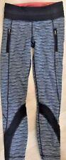 LULULEMON Run Inspire Pants II Textured Wave Black Silver Spoon size 4 EUC Gym