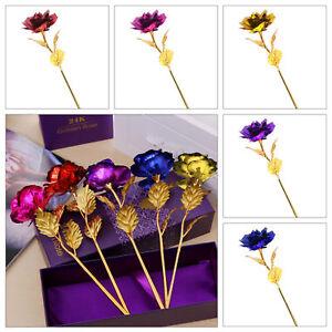 UK 24K Gold Plated Rose Flower Anniversary Girlfriend Romantic Valentine's Day