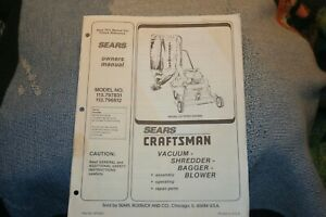 Craftsman Vacuum, Shredder, Bagger, Blower Owners Manual 113.797831 & 113.796812