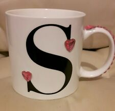 Letter S Mug With Pink Heart And Pink Round Stones