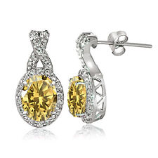 Sterling Silver 2.5ct TGW Citrine & White Topaz Oval and X Drop Earrings