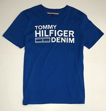 Tommy Hilfiger Solid Blue Round Neck Cotton Men's Short Sleeve Shirt - Size L