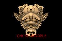 3D Model CNC Router STL File Artcam Aspire Vcarve biker rider skull PK13