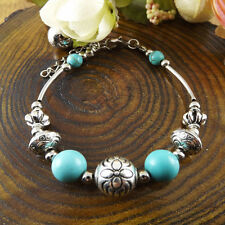 NEW Free shipping Jewelry Tibet silver jade turquoise bead DIY bracelet S270