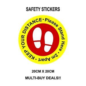 """Shop Floor Stickers Social Distancing Floor Decals - Stickers - 8"""" 200mm"""