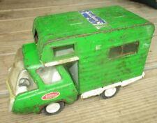 OLD TONKA CAMPER  RV PRESSED STEEL TRUCK GREEN CAB Vintage 70's Rolls Great!