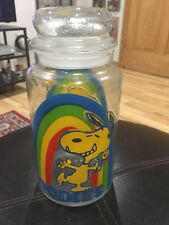 "Vintage Peanuts Snoopy Rainbow Goodies 8"" Glass Cookie Jar 1965 60s"