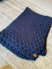 "RARE UGG Navy Blue Super Soft 50"" X 70"" Chunky Thick Knit Sweater Blanket Throw"