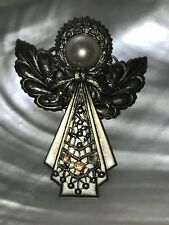 White Pearl Head & Aurora Borealis Estate Large Pewter Colored Metal Angel with
