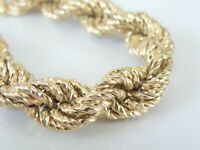 Chunky Italy 18K Yellow Gold on Sterling Silver 925 Roped Cable Big Bracelet